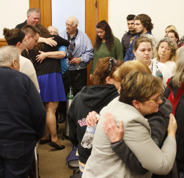 Jenny Lancour | Daily Press Jolene Eichhorn's family and friends console each other following Gregory Ihander being declared guilty of second-degree murder in Menominee County Circuit Court Thursday. Ihander will be sentenced in circuit court on April 13.