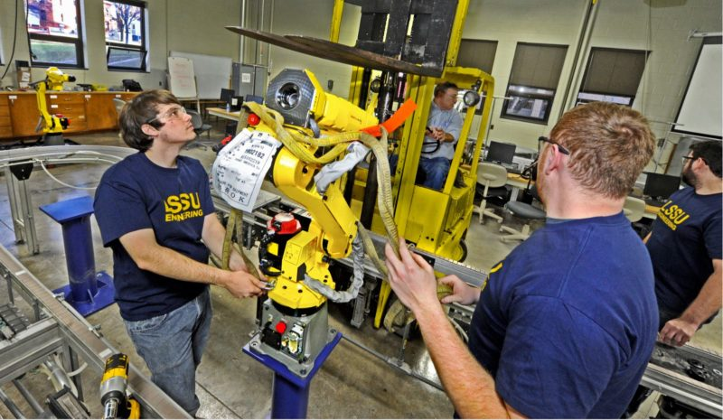 Courtesy photo Lake Superior State University student engineers recently installed four new FANUC M10 robots, the latest line in LSSU's automated systems laboratory in Sault Ste. Marie, Mich. Associate of science degree in pre-engineering granted through Bay can now be applied for the first two years of a LSSU bachelor's degree in electrical, mechanical, or computer engineering with optional concentrations in robotics and automation.