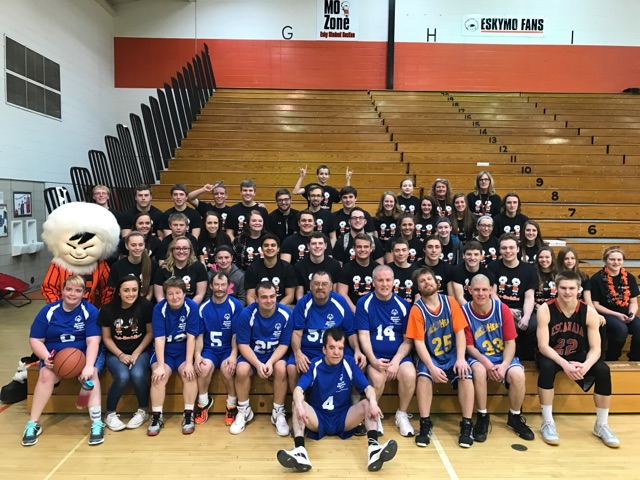 Courtesy photo A pep rally was held on Feb. 23 for the Special Olympics that was to be held on Feb. 24 and 25, due to the weather, the event was cancelled. A game has been scheduled for Monday, March 6 at 6 p.m. with the varsity players at the Escanaba High School gym. Pictured is the Escanaba High School's MoBuddy Program, along with the Special Olympians of Delta County. The MoBuddy program is a mentoring program built into a student's school day. The mentors either work one-on-one with a student with special needs or in a classroom. They work on academic and social skills. The mentors have a course syllabus and objectives they must adhere to which includes journaling.