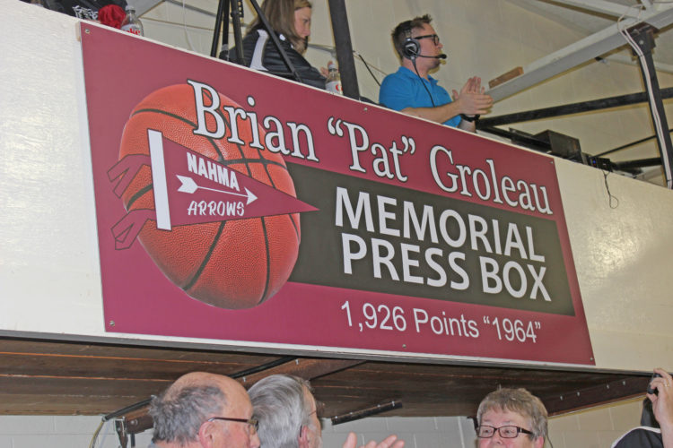 Dennis Grall | Daily Press The press box at Big Bay de Noc High School was dedicated in memory of the late Pat Groleau, who died Oct. 28, 2016. He scored 1,926 points for the Nahma Arrows, one of the schools that forms Big Bay, was a 2013 inductee of the U.P. Sports Hall of Fame, and was a longtime member of the school's booster club. He was a two-time MVP in basketball at Lake Superior State University.