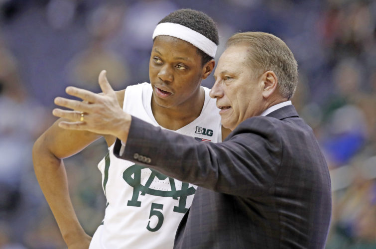 AP photo Michigan State guard Cassius Winston listens to head coach Tom Izzo during the second half against Penn State in the Big Ten tournament. Izzo has led Michigan State to the NCAA Tournament as usual, extending his streak to 20 years. For a change, the Hall of Fame coach will have to rely on freshmen to avoid losing a first-round exit in consecutive years for the first time.