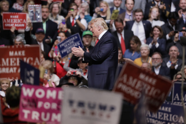 FILE - In this March 15, 2017 file photo, President Donald Trump speaks at a rally in Nashville, Tenn. Trump is taking his message directly to his ardent supporters. At a series of upcoming rallies, heÕs working to recapture the enthusiasm of his campaign and reassure his supporters about his tumultuous early days in the White House. (AP Photo/Mark Humphrey, File)