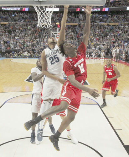 AP photo Wisconsin forward Nigel Hayes (10) scores the game-winning basket against Villanova guard Mikal Bridges (25) with 11 seconds to play last weekend's upset win for the Badgers. Hayes didn't have to say a word to make his loudest statement in the NCAA Tournament.