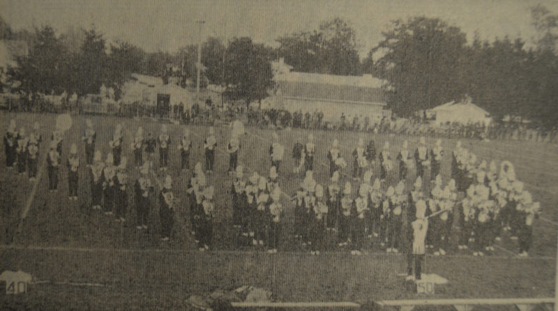 Daily Press photo The Gladstone marching band gets into formation during their half-time performance at the homecoming game against the Mantisque Emeralds in 1968. The game was held at Marble Field and the Braves won the game 35-0.