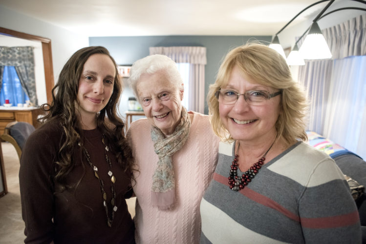 Angela Major/The Janesville Gazette via AP Jessi Balsamo, left, Jean Spaulding, center, and Sue Kotwitz, right, stand together Monday, March 13, 2017 in Janesville, Wis. The women shared a wedding dress for three generations.