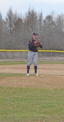 Mike Mattson | Daily Press Bark River-Harris starting pitcher Sam Hall checks a runner at first base in Tuesday's first game against North Central. All high school pitchers will have their pitches counted and monitored this season.