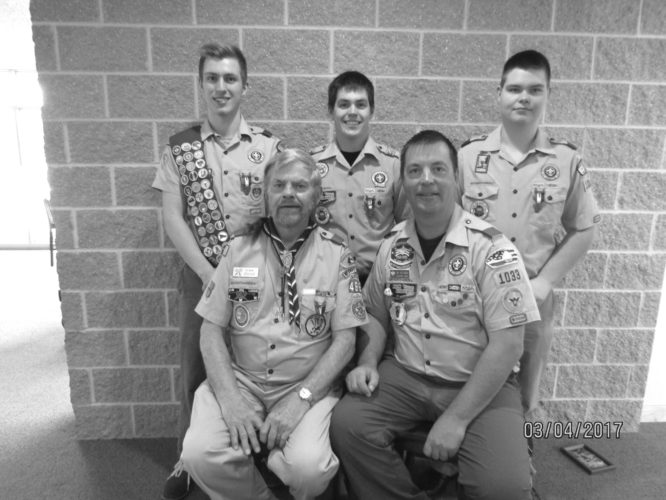 Courtesy photo Pictured, front, Al Salmi, Allen Salmi, and back, Zachary, Luke, Jacob Salmi, on March 4 after Zachary was awarded his Eagle Scout Badge. Zach becomes the seventh member of the family to hold that honor.