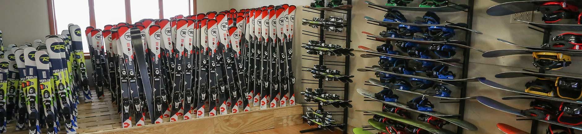 Burton snowboard and Rossignol ski rentals at Deep Creek Ski & Board