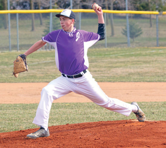THE DELIVERY — Martin Luther/Granada-Huntley-East Chain/Truman hurler Paxton Gravlin delivers a pitch to the plate during prep baseball action against Mountain Lake Area/Comfrey on Friday in Truman. (Photo by Greg Abel)