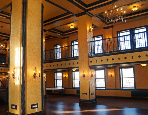The grand ballroom was carved out of the sixth and seventh floors of the former Indiana Hotel. Photo courtesy of the Embassy Theatre.