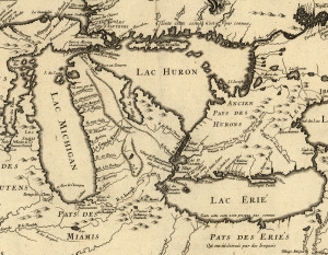 The Great Lakes Region of New France in 1755. Photo courtesy of the Library of Congress