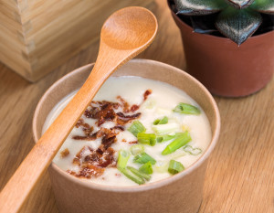 Empyrean Cafe's potato leek soup with crispy prosciutto, photography by Neal Bruns