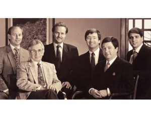 From left: Alan Peterson, MD; August Tomusk, MD; Joseph Ladowski, MD; William Deschner, MD, and Michael Schatzlein, MD, all Tomusk Foundation founders, were photographed with Anthony DeRiso, MD, their Indiana Ohio Heart, Lutheran Medical Group, colleague about 1993. photo courtesy of Lutheran Medical Group