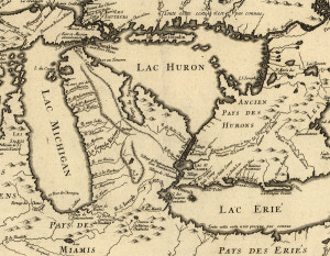 The Great Lakes Region of New France in 1755, courtesy of the Library of Congress