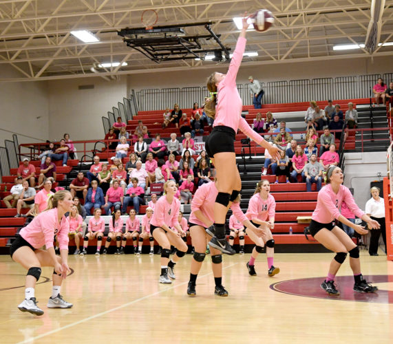 South Hamilton senior Ady Wintermote swats one of her 446 kills during her senior season inside her home gym in September. Wintermote has been named to the Class 2A all-state third team by the Iowa Girls Coaches Association. DFJ photo/Troy Banning