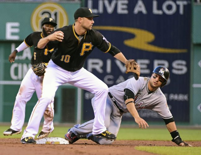Pittsburgh Pirates' Jordy Mercer throws to first after forcing out Miami Marlins' Martin Prado in the third inning of a baseball game in Pittsburgh, Saturday, Aug. 20, 2016. Christian Yelich was out at first. (AP Photo/Fred Vuich)