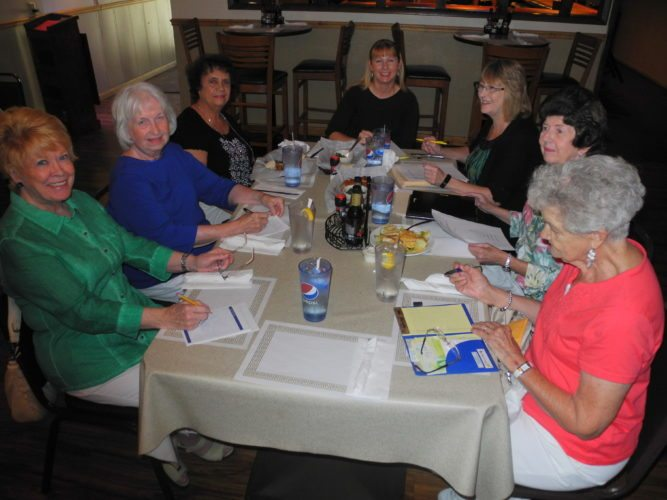 SPECIAL EVENT PLANNED — Members of the Follansbee 20th Century Woman's Club, GFWC-WV, gathered to finalize plans for a Sept. 10 luncheon honoring three local school superintendents who all are Follansbee natives. The three are Toni Paesano Shute of Brooke County, Kathy Kidder-Wilkerson of Hancock County and Kim Santoro Miller of Ohio County. Planners of the event are, from left, Pat Accettolo, Janet Formis, Carmel Esposito, Brandy Puskarich, Debbie Puskarich, Janet Benzo and Mary Schwertfeger, the group's president. Open to the public, the dinner will be held at noon Sept. 10 at Vito's 2. Tickets are $25 each and can be purchased at Puskarich Accounting in Follansbee by calling (304) 527-3657 or by writing to 744 Virginia Ave., Follansbee. No tickets will be sold at the door. -- Warren Scott