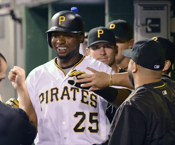 Pittsburgh Pirates' Gregory Polanco celebrates a solo home run during the fifth inning of a baseball game against the Houston Astros in Pittsburgh, Tuesday, Aug. 23, 2016. The Pirates won 7-1. (AP Photo/Fred Vuich)