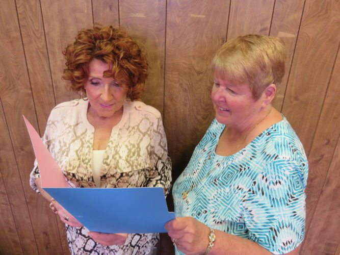GETTING ORGANIZED — Club President Iris Craig, left, and Eileen Krupinski, vice president and program chair, check out plans for the Sept. 8 opening luncheon and business meeting of the Woman's Club of Steubenville, which will be held at noon at the Steubenville Country Club. -- Janice Kiaski