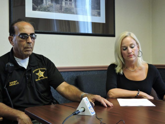 Jefferson County Sheriff Fred Abdalla and Prosecutor Jane Hanlin discuss the circumstances surrounding the death of Jason Binkiewicz Friday at the Jefferson County Courthouse. Binkiewicz had been sentenced to 13 years in prison for shooting a man, then he threw himself over a banister in a courthouse stairwell.
