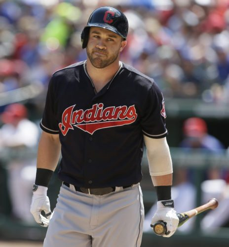 Cleveland Indians Jason Kipnis reacts to striking out during the first inning of a baseball game against the Texas Rangers in Arlington, Texas, Sunday, Aug. 28, 2016. (AP Photo/LM Otero)