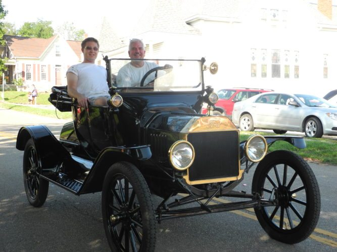 BACK TO YESTERYEAR — A Model T Ford was one of the units in the Smithfield Fireman's Festival parade held Saturday. The parade also featured fire trucks from Adena, Mount Pleasant, Cadiz, Rayland, New Alexandria, Wintersville and Unionport fire departments, as well as Smithfield. - Esther McCoy