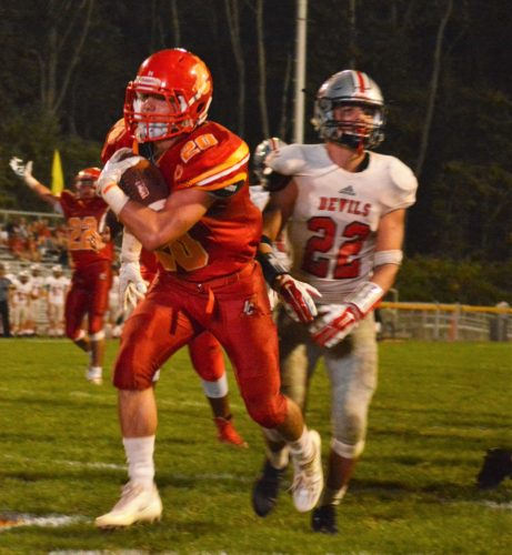 BIG SIX — Indian Creek's Robert Coppa scores a touchdown in the fourth quarter of Friday's win over St. Clairsville at Kettlewell Stadium. (Mike Mathison)