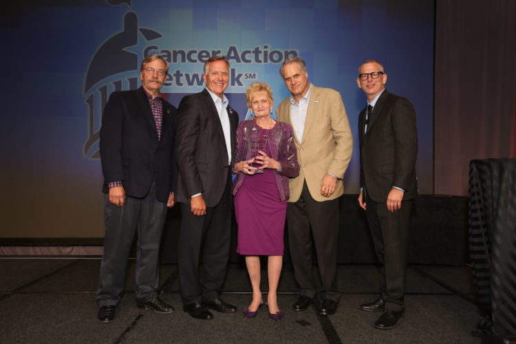 HONORED — Barbara Wilinski of Steubenville received the national volunteer award for excellence in advocacy from the American Cancer Society Cancer Action Network. With Wilinski in Washington, D.C., on Sept. 11 were, from left, Dr. Richard L. Deming, last year's volunteer excellence award winner; Gary M. Reedy, chief executive officer, ACS CAN; Christopher W. Hansen, president, ACS CAN; and Jeff Martin, senior director, field advocacy training, ACS CAN. - Contributed