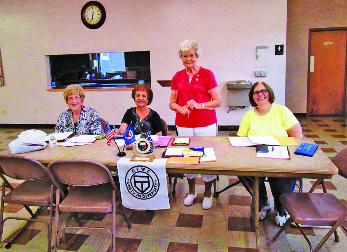 OFFICERS INDUCTED — The Follansbee 20th Century Club installed officers, including, from left, Secretary Rita Kilmartin, Vice President Carmel Esposito, President Mary Schwertfeger and Treasurer Sally DiGiacinto, at its most recent meeting.  -- Contributed