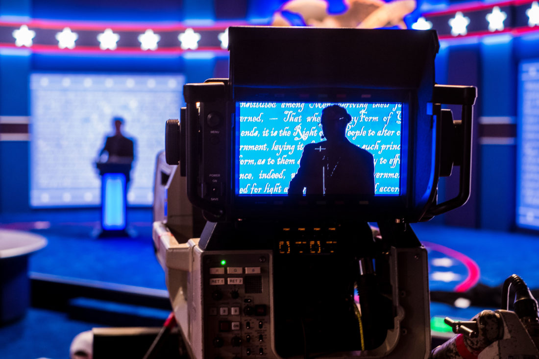 A stand-in for Republican presidential candidate Donald Trump is seen in a television camera monitor as preparations continue Sunday Sept. 25, 2106 for the presidential debate at Hofstra University in Hempstead, N.Y.  - Associated Press