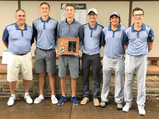 MADONNA CHAMPS — The Weirton Madonna golf team shot 228 Monday at Williams Country Club to win the West Virginia Class A Region 1 tournament. From left, head coach T.J. Brancazio, Joey Ewusiak, Tony Sellitti, Peterson, Hunter Sistilli and Payne. (Contributed)
