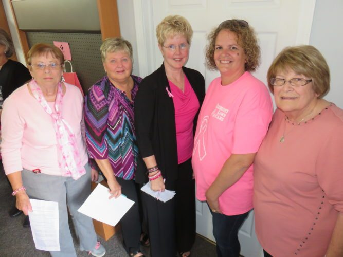 PROGRAM PARTICIPANTS —  Among representatives of the Women in Action Against Cancer Coalition involved in the 20th-annual Ohio Mammography Day Wreath Ceremony held Wednesday evening at the Kay Corabi Community Room in Steubenville were, from left, Janet Pillar, Janet Sharpe, breast cancer survivor speaker Tammy Smedley, Leslie Aftanas and Jean Lamatrice. - Janice Kiaski