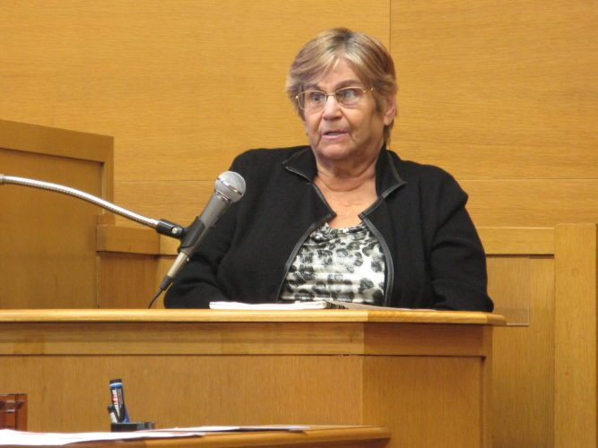 ON THE STAND — Patricia Freeland, a former Smithfield mayor, took the stand in her own defense on Wednesday in a Jefferson County Common Pleas courtroom. A jury deliberated about two hours before finding her guilty of theft in office, insurance fraud and failure to remit wage taxes to the state. Visiting Judge John Mark Solovan said he will sentence Freeland in several weeks after a presentence investigation is completed. - Mark Law