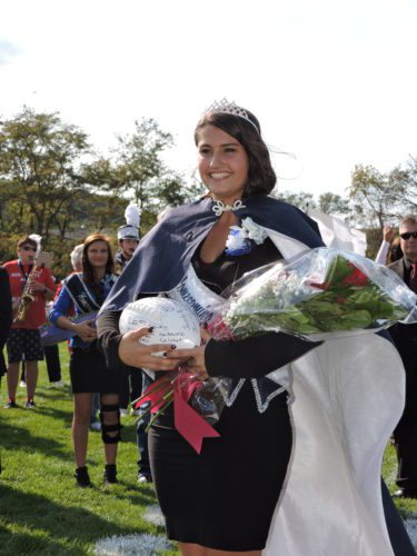 Sidney Zelenko, the daughter of Tim Zelenko and Kathleen Mancuso of Burgettstown, was crowned the 2016 Burgettstown High School homecoming queen at halftime during the Blue Devils' 26-23 loss to Charleroi High School Saturday. -- Summer Wallace-Minger