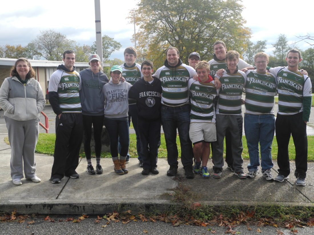 Members of the rugby team for the Franciscan University of Steubenville and members of student government Saturday pitched in to assist volunteers picking up litter in the Pleasant Heights and Labelle View neighborhoods. The cleanup included about 30 volunteers and neighbors picking up trash. The effort was spearheaded by the Hilltop Community Development Corp.  — Mark J. Miller