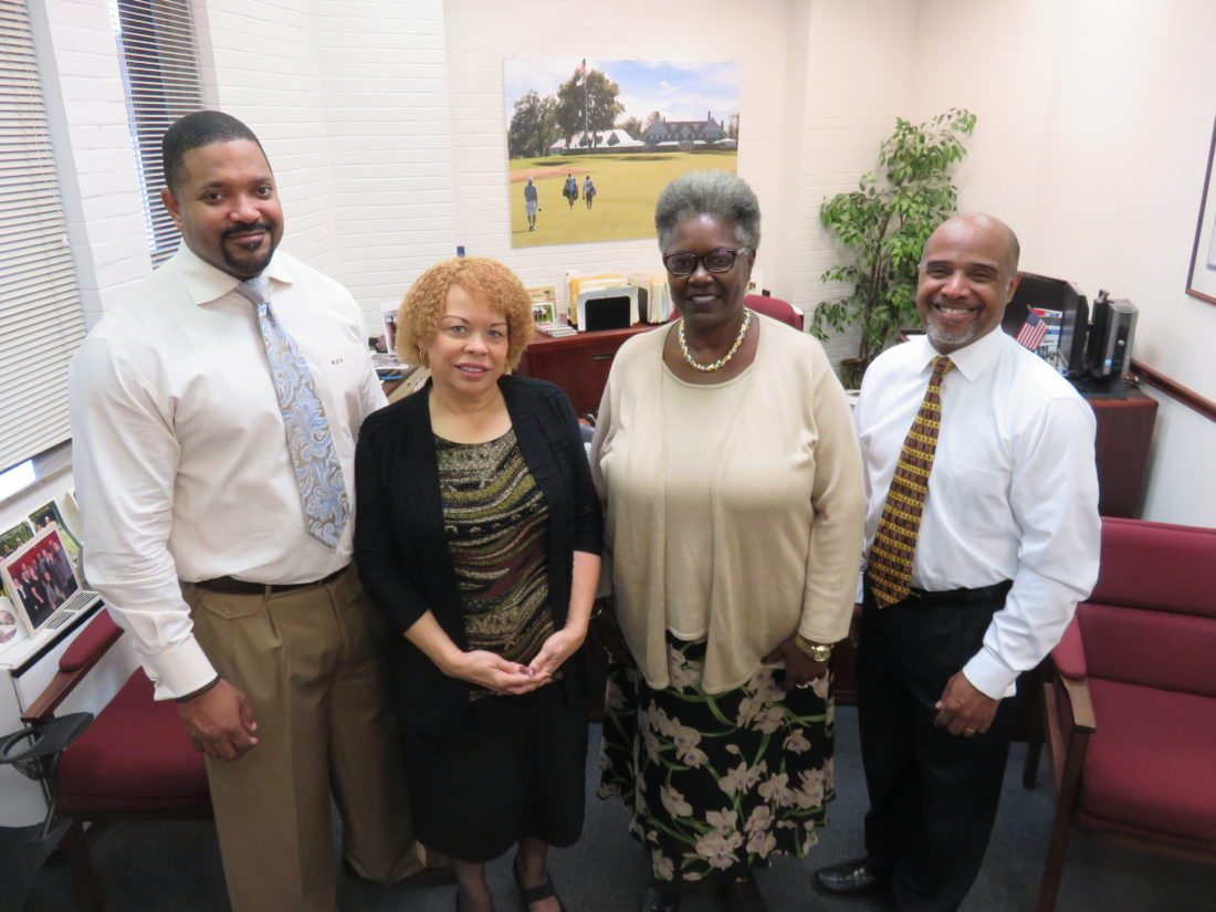 Representatives of the Dr. Martin Luther King Jr. Association who are involved in planning the annual prayer breakfast set for Nov. 5 are, from left, the Rev. Benjamin Calvert II, Carol Ann Simmons, guest speaker Loma Nevels and the Rev. Vaughn Foster. — Janice Kiaski