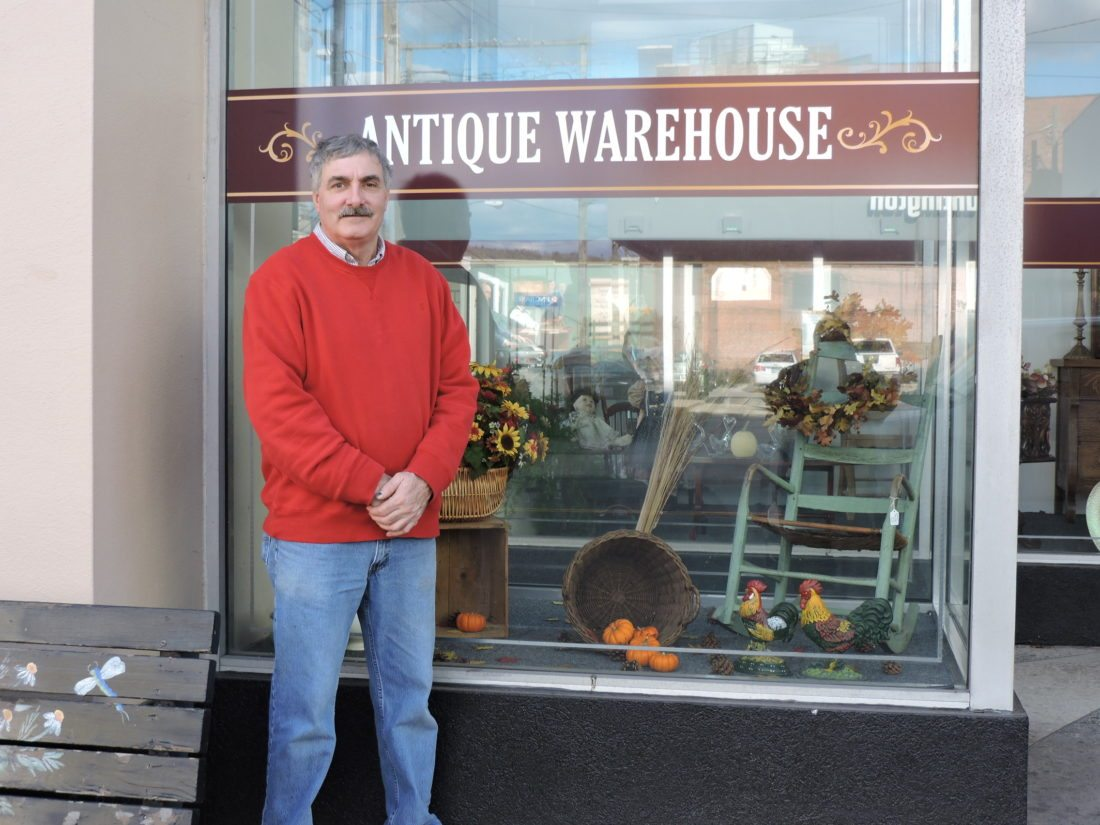 Ken Smith stands in front of his business, Antique Warehouse, where the What's Up Downtown event will be held starting at 5 p.m. Wednesday. The Antique Warehouse now occupies the former Denmark's store at 322 Market St. The What's Up Downtown events are organized by the Steubenville Revitalization Group to promote and support businesses and organizations in the downtown and surrounding area. — Dave Gossett