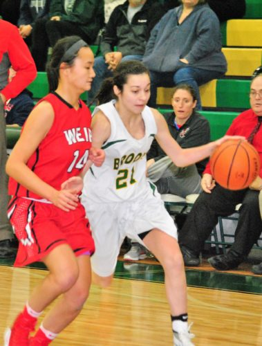 Matthew Peaslee RIVALS ON THE HARDWOOD — Brooke's Aleigha Edgar dribbles against the defensive pressure of Weir High's Julia Gianni during the first half of Monday's game inside the Brooke Wellness Center. The Bruins moved to 2-0 with a 65-36 victory.