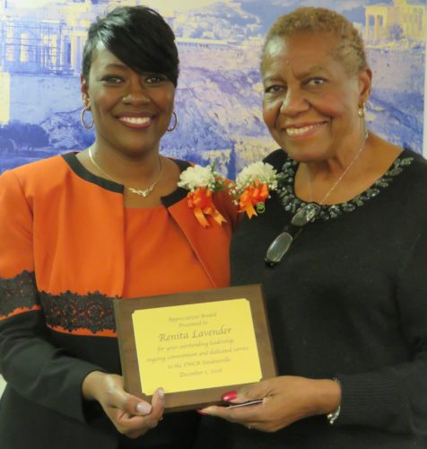 Sophie Spencer, right, who has moved from interim to official YWCA executive director, presented Renita Lavender, YWCA board president and the banquet's mistress of ceremonies, with a plaque in recognition of her eight years of service on the board, including two years as its president. -- Janice Kiaski