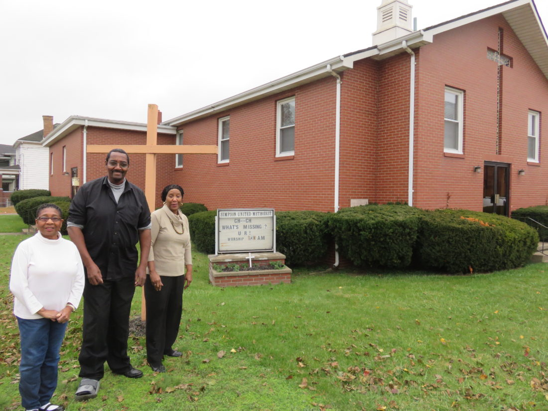 After a more than 140 years of faithful presence in the Steubenville community, Simpson United Methodist Church will close its doors after a final service there Sunday, beginning at 4 p.m. Outside the church, at 430 Slack St. in Steubenville's South End, are leadership team members, including, from left, Janice Fullwood, Lamont Sizemore and Sharon Kirtdoll. The service is open to the public and will feature guest preacher the Rev. Ivy Smith, Kirtdoll's daughter. — Janice Kiaski