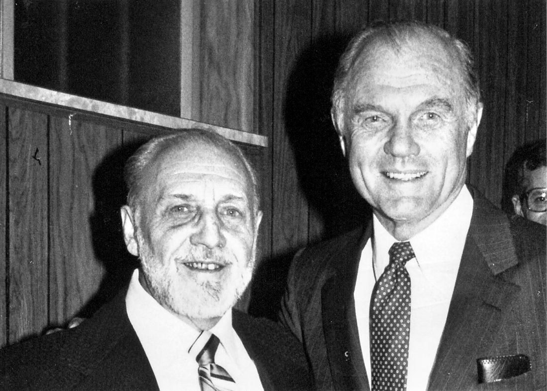 CAMPAIGNING FOR JOHN GLENN  — The late Dr. J. P. Smarrella, chairman of the Jefferson County John Glenn re-election committee, left, stands next to U.S. Sen. John Glenn during a local event in the early 1980s. - Contributed