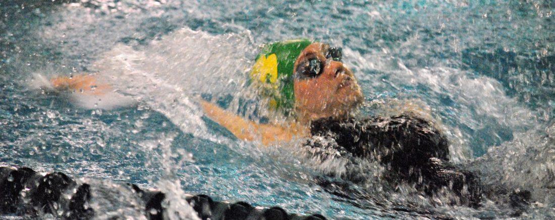 Brooke's Emily Donley swims the backstroke. (Matthew Peaslee)