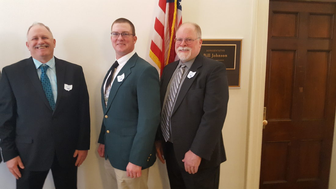 Local Ohio Farm Bureau presidents, from left, John Seleski of Harrison County, Duayne Wetherell of Jefferson County and Dave Vollnogle of Columbiana County stand outside the office of U.S. Rep. Bill Johnson, R-Marietta, in the Longworth office building on Capitol Hill Wednesday. The farm bureau representatives wrapped up a three-day lobbying visit by the Ohio Farm Bureau following the visit with Johnson. — Paul Giannamore