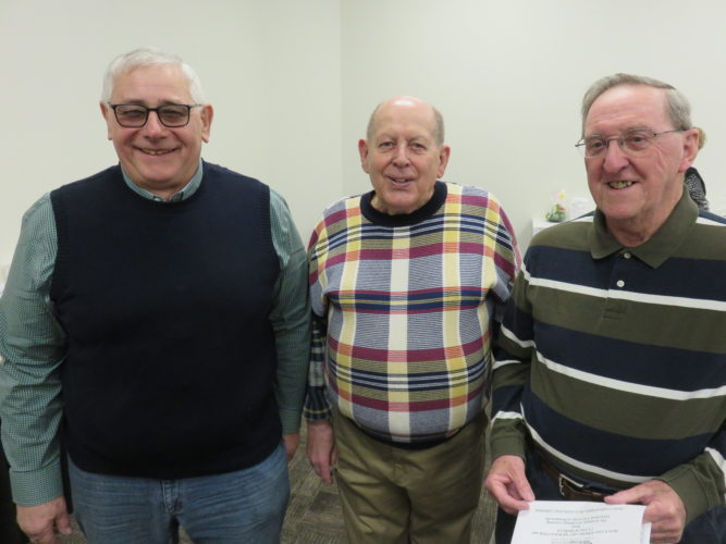 Academy board member Stan Gaston, center,  with academy newcomers  Bill Cunningham, left,  and Jack Billham -- Janice Kiaski