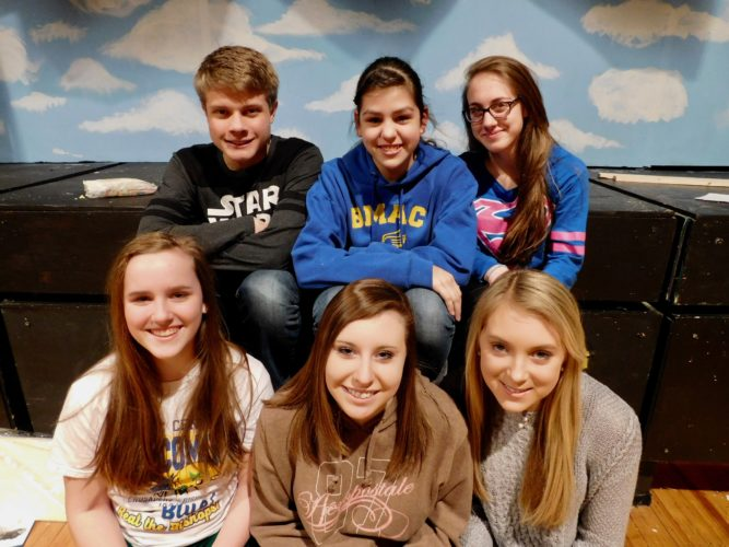 "Catholic Central High School will present ""The Wizard of Oz"" March 31 and April 1 in Central's Lanman Hall. Cast members include, front, from left, Aileen Delaney as the Tinman; Kelly Lynskey, Dorothy; and Aly Orsatti, Toto: and back, Rick Terry, the Wizard of Oz; Lucy Stoutz, Wicked Witch of the West; and Maggie Ward, Cowardly Lion. — Contributed"