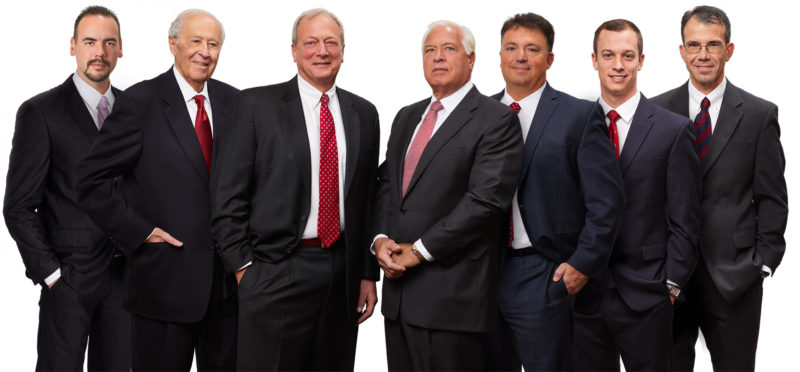 Partners in the law firm Frankovitch, Anetakis, Simon, Decapio & Pearl LLP include, from left, Kevin M. Pearl, George J. Anetakis, M. Eric Frankovitch, Carl N. Frankovitch, Michael G. Simon, Carl A. Frankovitch and Thomas J. Decapio. — Contributed
