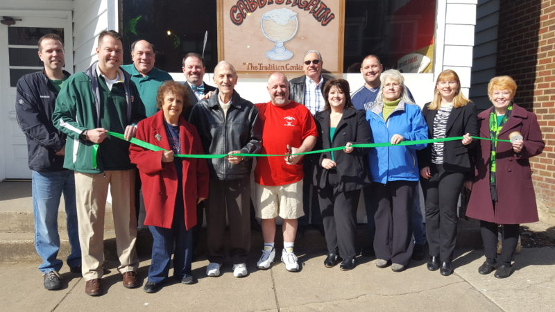 "Members of the Follansbee Chamber of Commerce and city officials helped Rick Roach, the new owner of Gabby's Welcome Cafe — which has been renamed Gabby's Again — to celebrate the restaurant's re-opening with a ribbon cutting. Taking part were, front, from left, Mayor David Velegol Jr.; chamber member Carmel Esposito; Chamber President Tony Paesano; Roach; and chamber members Cindy Kocher, Olive McGee, Brandy Puskarich Bradley and Pat Accettolo: and back, Councilman Scott McMahon; City Attorney Michael Gaudio; chamber member Eric Fithyan; and Councilmen Rudy Cipriani and Vito ""Skip"" Cutrone. — Contributed"