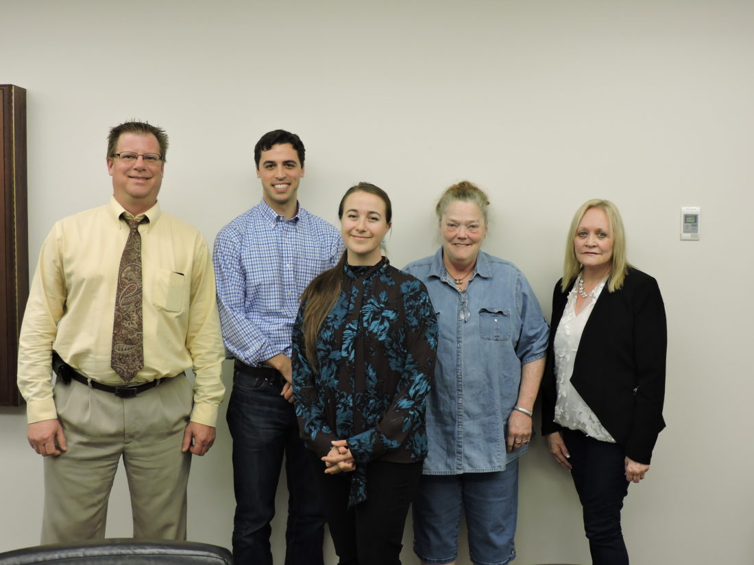 FIRST MEETING — Members of the Steubenville Tree Commission met for the first time Monday night to officially organize and learn what will be expected of them. The tree commission members are, from left, Tom Way, Justin Sofio, Laura Sirilla, Anne Sweeney and Janet Mann. - Dave Gossett