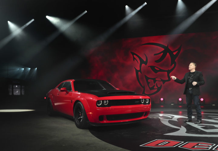 DODGEDEMON — Dodge head of passenger car brands Tim Kuniskis talks about features for the 2018 Dodge Challenger SRT Demon during a media preview for the New York International Auto Show, Tuesday in New York. -- Associated Press