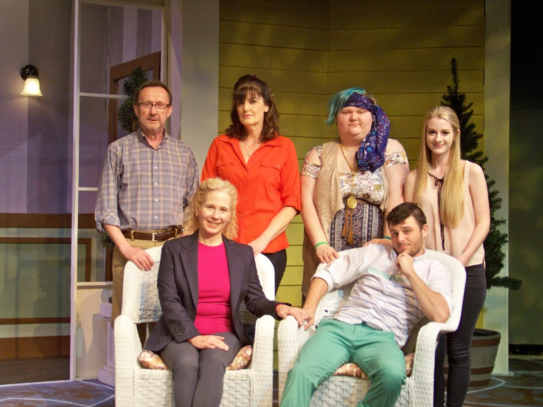 """Preparing for the Ohio University Eastern Theatre performances of """"Vanya and Sonia and Masha and Spike"""" today through Saturday are, front, from left, Melody Meadows and Derek DeMattio; and back, Dennis Fox, Audrey Dillon, Carly Greiner and Jamilyn Helms — Contributed"""